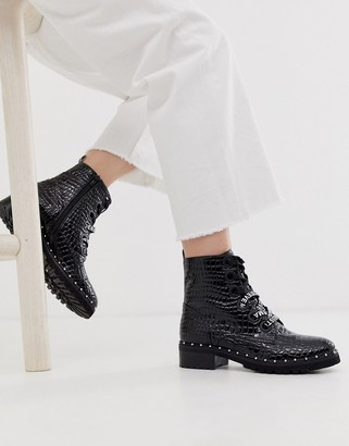 Steve Madden Tess flat studded ankle boots in black croc leather