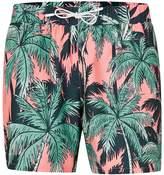 Topman Pink and Green Palm Print Swim Shorts