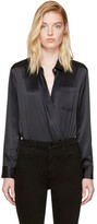 Alexander Wang Black Silk Wrap Shirt Bodysuit