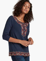 Lucky Brand Paisley Embroidery Top