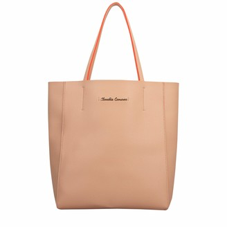 Claudia Canova Womens Simple Tote Style Bag Shoulder Bag Pink (Peach)