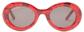 Balenciaga Round Paris-print Acetate Sunglasses - Womens - Red