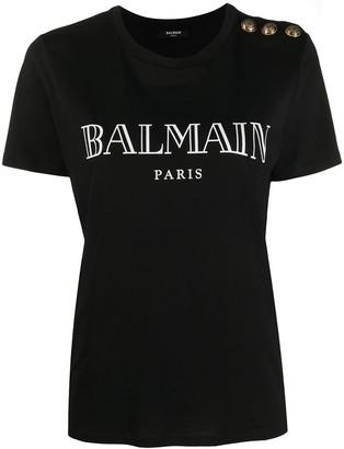 Balmain logo-print decorative-button T-shirt