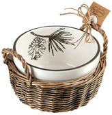 Mud Pie White Pine Cone Decal Dip Cup 2-Piece Set
