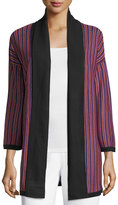 Misook Striped Bracelet-Sleeve Long Jacket, Mulberry/Multi
