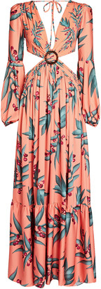 PatBO Printed Cut-Out Maxi Dress