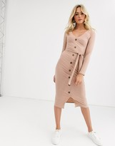 New Look button through belted midi dress in stone