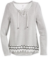 Beautees Crochet Lace-Up Top, Big Girls (7-16)