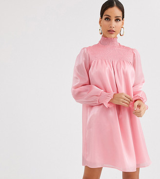 Glamorous Tall high neck swing dress with shirring in organza-Pink