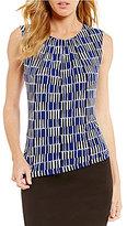Calvin Klein Petites Geometric Block Stripe Matte Jersey Pleat Neck Shell