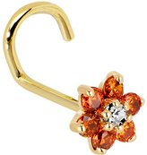 Body Candy Solid 14k Yellow Gold and Clear Cubic Zirconia Flower Left Nostril Screw 20 Gauge