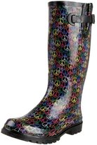 NOMAD Footwear Women's Puddles Rain Boot,Black Multi Peace,7 M US