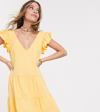 Asos DESIGN Petite Exclusive v neck frill sleeve tiered smock dress in buttermilk