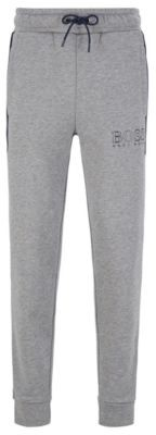 Color-block fleece loungewear pants with outline logo