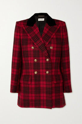 Saint Laurent Double-breasted Velvet-trimmed Checked Wool Blazer - Red