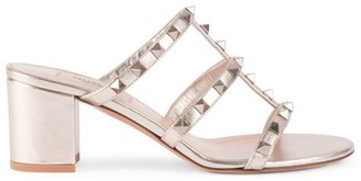 Valentino Rockstud Metallic Leather Mules