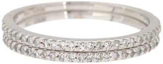 Effy 14K White Gold Pave Diamond Double Band Ring - Size 7 - 0.34 ctw