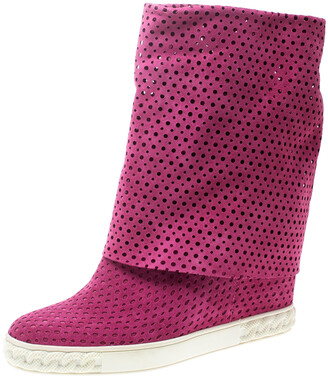 Casadei Pink Perforated Suede Wedge Boots Size 39