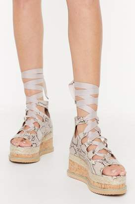 Nasty Gal Womens Snake That Platform Lace-Up Sandals - Beige - 3