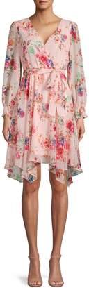 Gabby Skye Floral-Print Faux Wrap Dress