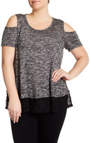 Hip Short Sleeve Cold Shoulder Sweater (Plus Size)