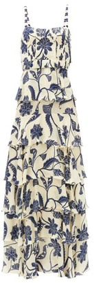 Johanna Ortiz Cat Goddess Tiered Floral-print Silk-blend Dress - Blue White