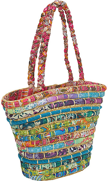 Capelli of New York Straw Tote With Multi Fabrics