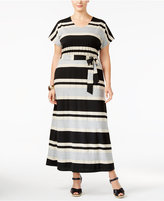 NY Collection Plus Size Striped Belted Maxi Dress