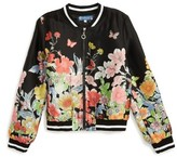 Girl's Truly Me Floral Print Bomber Jacket