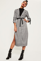 Missguided Checked Buckle Sleeve Duster Jacket