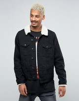Asos Denim Jacket With Fleece Collar In Black Wash
