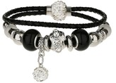 Apricot Black & Silver Beaded Ball Charm Double Layered Bracelet