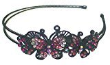 B.ella Butterfly Headband Design of Two Butterflies Decorated with Sparkling Stones U86800-0234fuchsia/pink