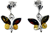 Goldmajor Amber and Sterling Silver Butterfly Earrings, Multi