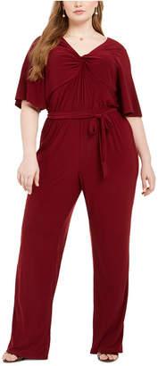 NY Collection Plus Size Twist Neck Jumpsuit