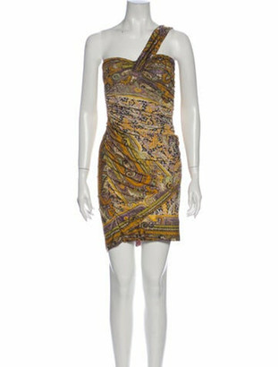 Isabel Marant Printed Knee-Length Dress Yellow