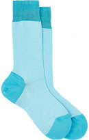 Barneys New York Men's Neat-Pattern Mid-Calf Socks-TURQUOISE
