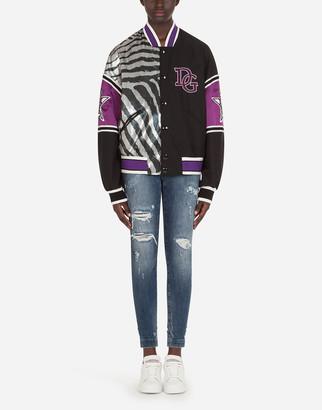Dolce & Gabbana Bomber Jacket With Zebra Jungle Sport Print
