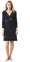 Lands' End Women's Petite Swim Cover-up Surplice Dress-Black Island Polka Dot
