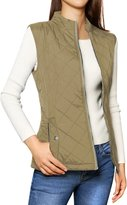 Allegra K Woman Zip Up Stand Collar Slant Pockets Quilted Padded Vest XL