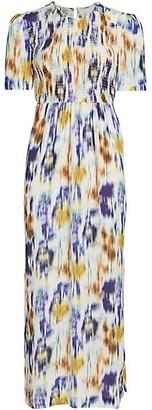 Baum und Pferdgarten Dance Admaris Tie Dye Smock Bodice Stretch-Silk Maxi A-Line Dress
