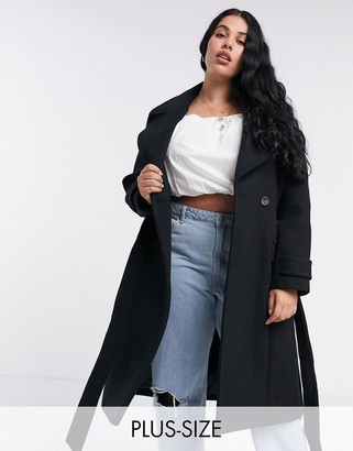 Ever New long wrap coat in black