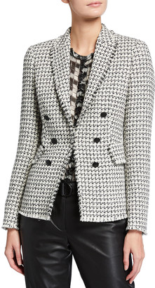 Akris Punto Mock Double-Breasted Peak Lapel Tweed Blazer