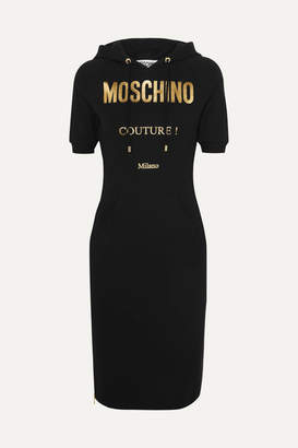 Moschino Hooded Metallic Printed Cotton-blend Jersey Dress - Black