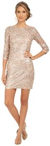 Aidan Mattox Long Sleeve Embroidered Feather Pattern Cocktail Dress