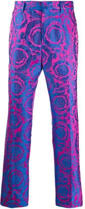 baroque-patterned tailored trousers