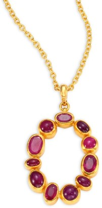 Gurhan Amulet Hue Ruby & 24K Yellow Gold Pendant Necklace