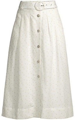 Rebecca Vallance Holliday Polka Dot Linen-Blend A-Line Skirt