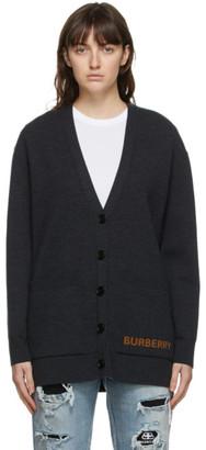 Burberry Grey Merino Wool Cardigan