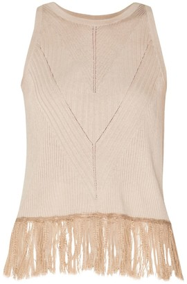 BEIGE Knitted Top With Ribbed Details & Fringe In